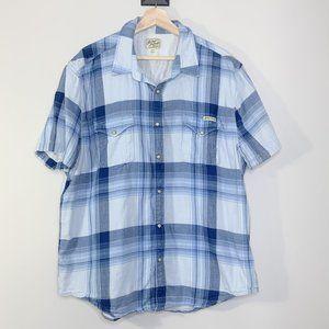 Lucky Brand Blue & White Button Down Short Sleeve